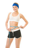 Woman measuring waist, isolated Stock Photos