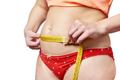 Woman measuring waist with measuring tape Stock Photography