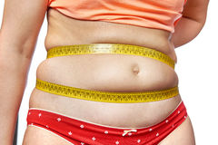 Woman measuring waist with meter tape Royalty Free Stock Images