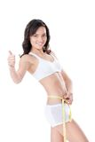 Woman measuring waist of perfect body Royalty Free Stock Photo