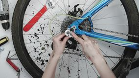 Woman mechanic fixing a bicycle wheel. 4K stock video footage
