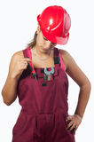 Woman mechanic with hard hat and in overalls Royalty Free Stock Photography