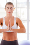Woman mediating. Stock Photography