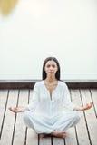 Woman mediating. Stock Photos