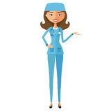 Woman medical doctor presenting flat cartoon vector illustration. Eps 10 Stock Images