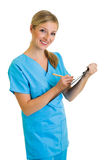 Woman in medical doctor uniform Royalty Free Stock Images