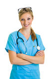 Woman in medical doctor uniform Royalty Free Stock Image
