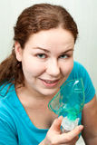 Woman in medical inhalation mask Stock Photography