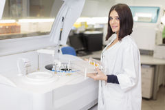 Woman in the medical laboratory Royalty Free Stock Image