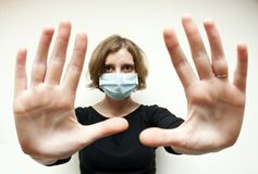 Woman with medical mask Royalty Free Stock Photos