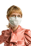The woman in medical mask. Portrait  young woman in protective mask isolated on white background Stock Photography