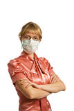 The woman in medical mask. Portrait  young woman in protective mask isolated on white background Royalty Free Stock Photo