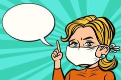 Woman in medical mask. Comic cartoon pop art retro vector vintage illustration Stock Photo