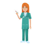 Woman medical nurse. Cartoon icon over white background. colorful design. vector illustration Royalty Free Stock Photos