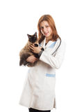 Woman in medical uniform holding a cat Royalty Free Stock Images