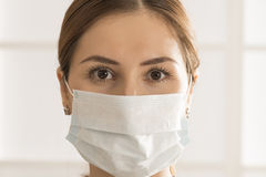 Woman with medicine healthcare mask Royalty Free Stock Photography