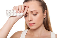 Woman with medicines. Royalty Free Stock Photography