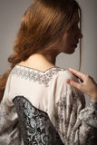 Woman in medieval corset and shirt siluette Royalty Free Stock Images