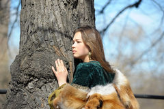 Woman in medieval dress and fox fur Stock Photos