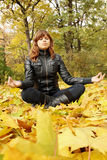 Woman meditates Stock Photo