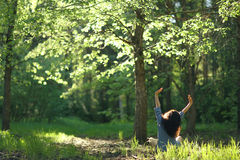 Woman meditating in  forest Stock Photos