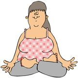 Woman meditating. This illustration depicts a woman sitting while meditating with her palms turned up Stock Images