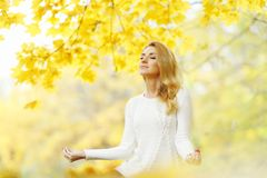 Woman Meditating In Autumn Park Stock Photography