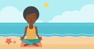 Woman meditating in lotus pose. Royalty Free Stock Image