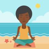 Woman meditating in lotus pose. Stock Photos