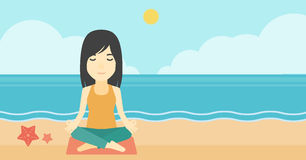Woman meditating in lotus pose. An asian young woman meditating in yoga lotus pose outdoor. Woman relaxing in the yoga lotus position. Woman doing yoga on Stock Image