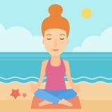 Woman meditating in lotus pose. Stock Images