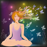 Woman meditating. In the magic forest Stock Photos
