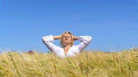 Woman meditating  . Meditation as way of life Stock Image