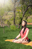Woman meditating on nature Royalty Free Stock Photography
