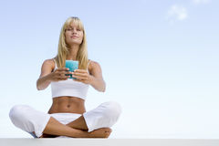 Woman meditating outside stock photography