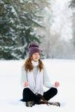 Woman meditating at the park Royalty Free Stock Images