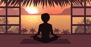Woman Meditating in Pose Lotus, Sunrise or Sunset, Sea, Mountain and Palm Trees, Home Interior. Illustration Royalty Free Stock Photography