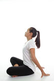 Woman meditating in pose. Portrait of young woman meditating in pose Royalty Free Stock Photography