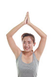 Woman meditating in pose. Portrait of young woman meditating in pose Royalty Free Stock Photos