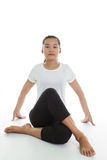 Woman meditating in pose. Portrait of young woman meditating in pose Stock Photos