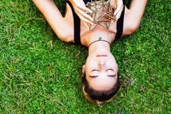 Woman meditating on sacred geometry Royalty Free Stock Photo