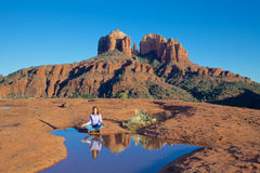 Cathedral Rock Meditaion Stock Image