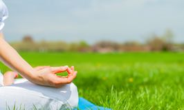 Woman is meditating sitting in Lotus pose on grass at the park stock image