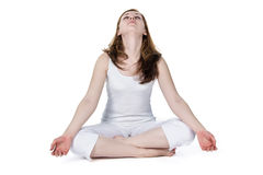 Woman Meditating Wearing White Royalty Free Stock Images