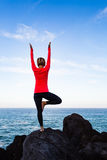 Woman meditating in yoga vrksasana tree pose Stock Photos