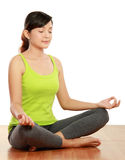 Woman meditation. Portrait of healthy woman doing meditation Royalty Free Stock Images