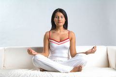 Woman & meditation royalty free stock photography
