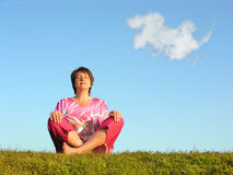 Woman meditation royalty free stock photography