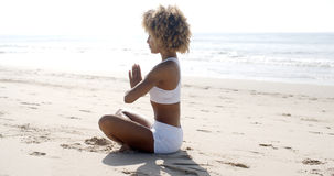 Woman Meditation On Beach Royalty Free Stock Photo