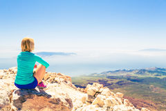Woman meditation beautiful inspirational landscape. Young woman looking and meditation outside natural beautiful inspirational landscape environment, fitness and Royalty Free Stock Image